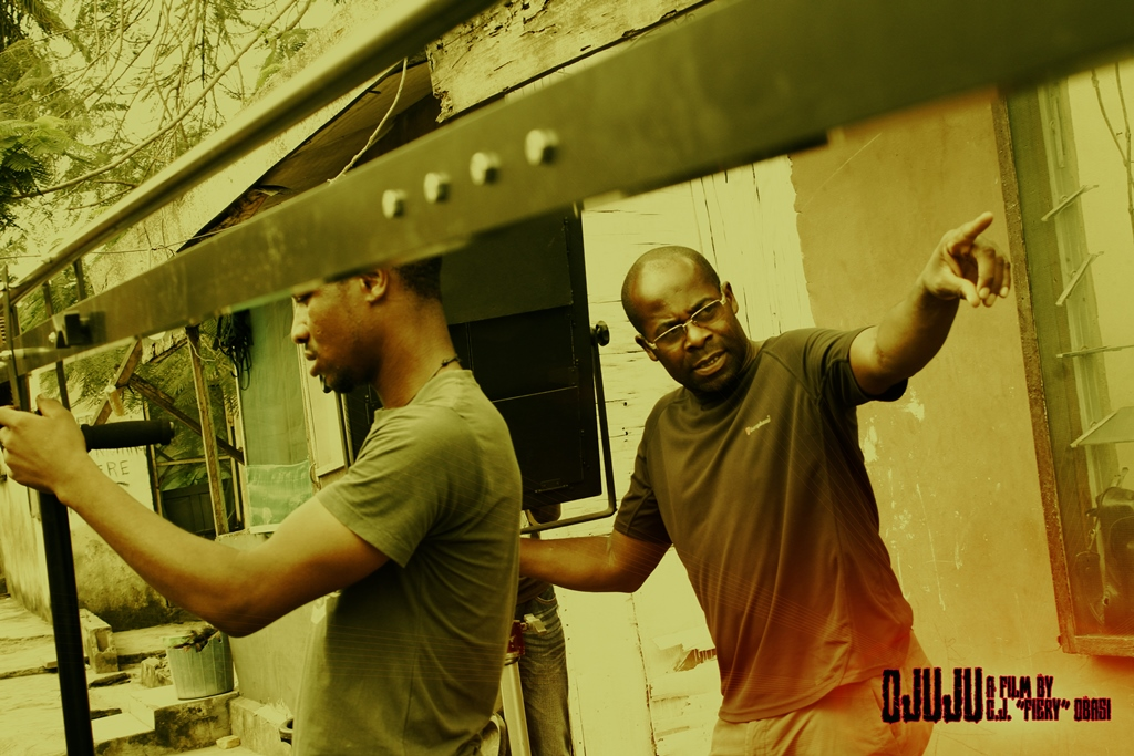 DOP Tunji Akinsehinwa (right), with Camera Assistant Lawrence Adama
